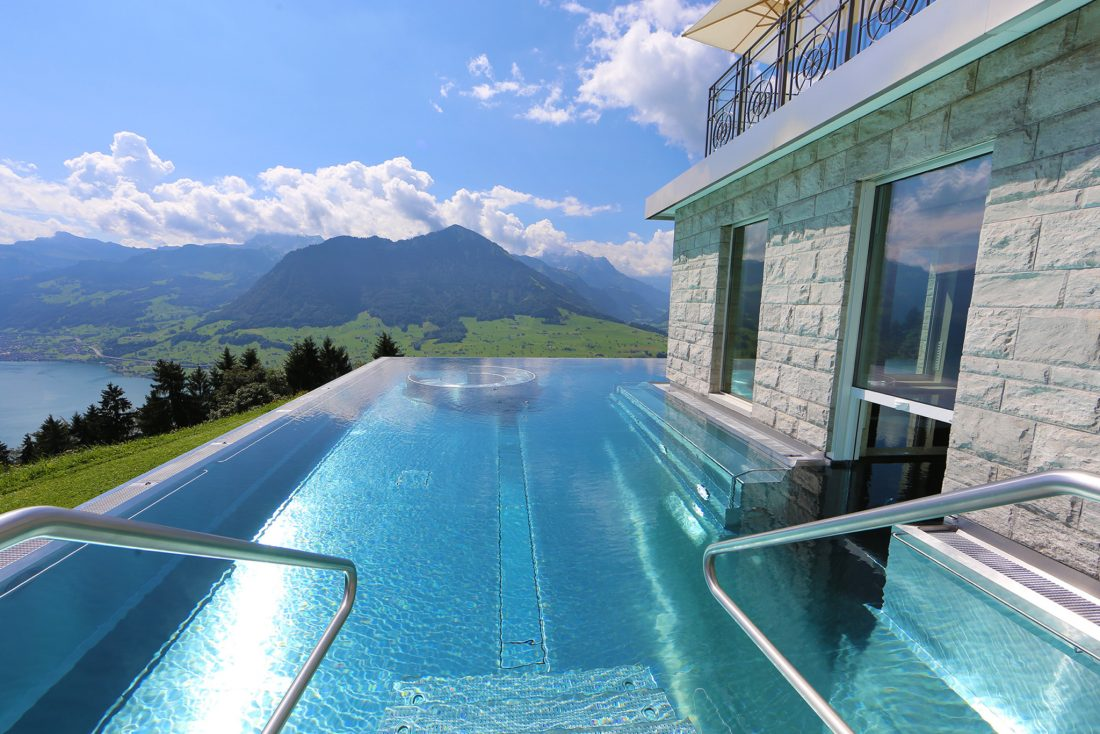 11 breathtaking photos from the famous hotel villa honegg pool. Black Bedroom Furniture Sets. Home Design Ideas